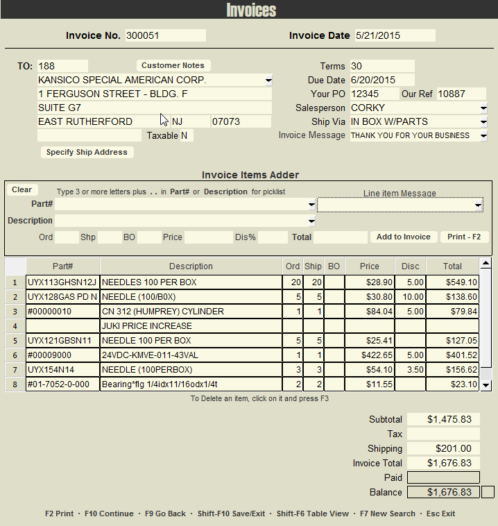Industrial components supplier Invoicing database